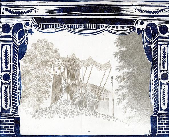 woodcut, drawing, printmaking, landscape, proscenium