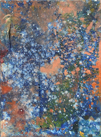 Abstract Painting, Sky, Abstract Art, Brooklyn, New York, Painting, Blue, Green, Splatter, Stitched, Orange, Scrape, Stars, Night Sky, Night time