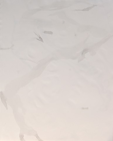 High Water Mark, Ink on Paper, Fine Artist Elizabeth Fonacier, Contemporary Beach Art, Subtle Soft, Stick in Sand, Ocean, Lake, Sea, Waves