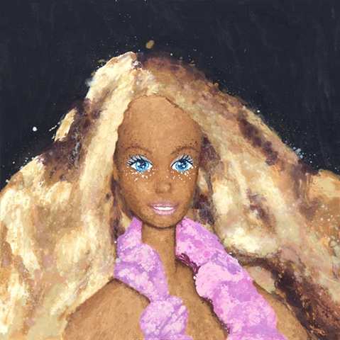 Barbie Portrait, Tanning Bar, Tanning Barbie, Beach Barbie, Barbie Painting, Melted Doll, Quantum Physics Theory, Matter, Matter of Dolls, Elizabeth Fonacier, Cultural Ideologies, Feminism, belief system, children's culture, gender roles, identity, femini