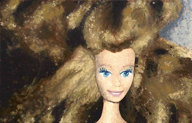 Barbie Portrait, Portrait Painting, Mall Rat Barbie, Brunette Barbie, Melted Doll, Quantum Physics Theory, Matter, Matter of Dolls, Elizabeth Fonacier, Cultural Ideologies, Feminism, belief system, children's culture, gender roles, identity, feminine iden