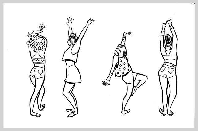 ink drawing brush rave dance party original art illustration