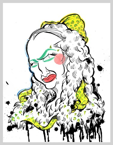 ink drawing brush gouache fur leopard ribbon makeup hair run commercial material corporate clown baby jane homeless grotesque original art illustration