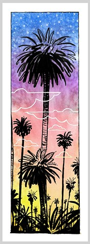 1980 palm tree los angeles california hollywood sunset stars clouds ink drawing gouache painting original art