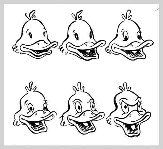 ink drawing brush pen original art illustration duck cartoon evolution