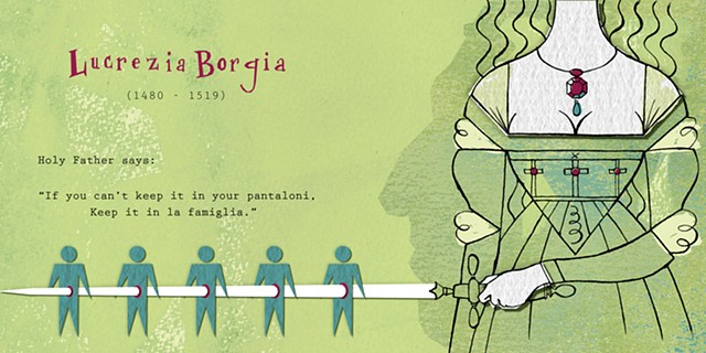 women strong humor borgia joke history illustration