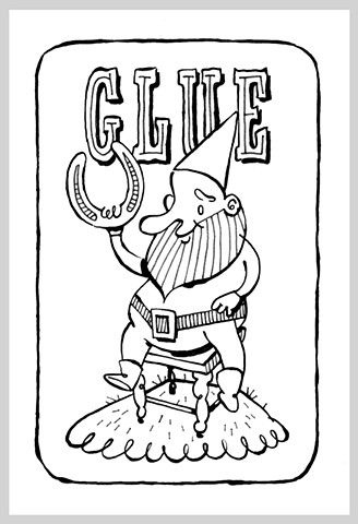 ink drawing brush pen original art illustration glue horse shoe gnome