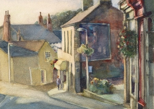 Art Card of a Watercolour by Vyvyan Green of Queen Street in Horbury, West Yorkshire.