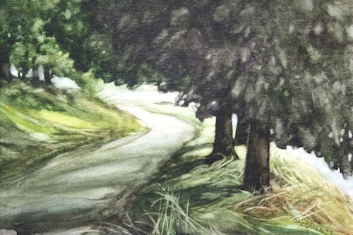 Art Card of a Watercolour by Vyvyan Green of trees and the road beside Ladybower Dam.
