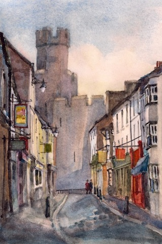 Art Card of a Watercolour by Vyvyan Green of the Castle and a street scene in Caenarfon, Wales.