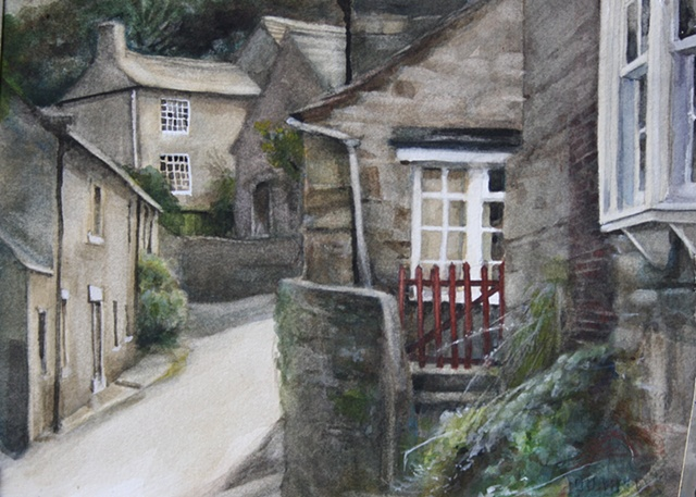 Watercolour painting of streets and cottages in West Burton, Yorkshire Dales by Vyvyan Green