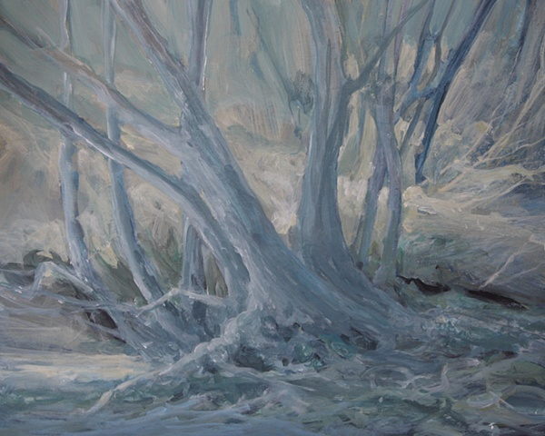 Acrylic painting of trees by the River Ure, Aysgarth, Yorkshire Dales,  by Vyvyan Green