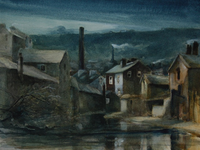 Watercolour painting of an industrial Yorkshire townscape with canal, mills, factories chimney stacks and moonlight at Todmorden, West Yorkshire, by Vyvyan Green