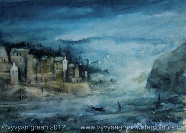 Watercolour of Harbour by moonlight.