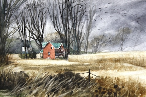 Art Card from a Watercolour by Vyvyan Green of a farmhouse by a cornfield.