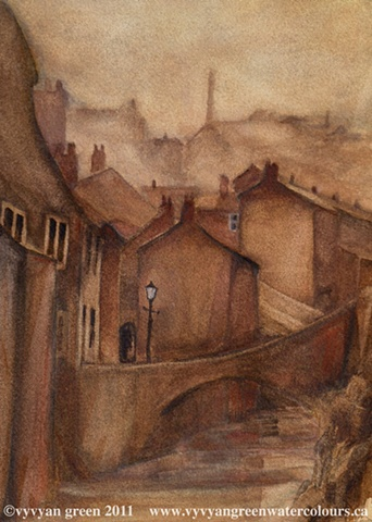 Watercolour painting of victorian industrial townscape with cottages and mills - Keighley, West Yorkshire, by artist Vyvyan Green
