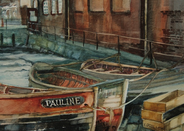 Watercolour painting Boats - cobles.  Scarborough Harbour, North Yorkshire,  by Vyvyan Green