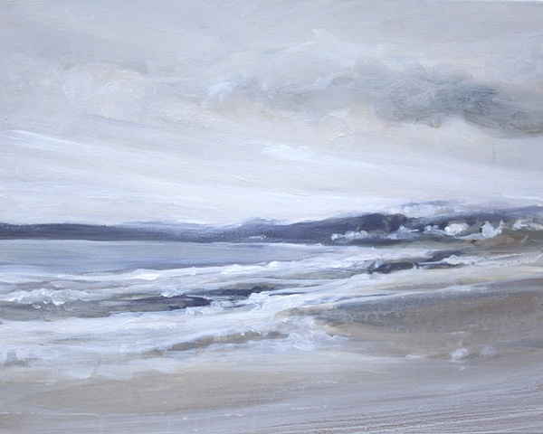 Acrylic painting of sand, sea, waves and sky at Filey Beach, Yorkshire, by Vyvyan Green