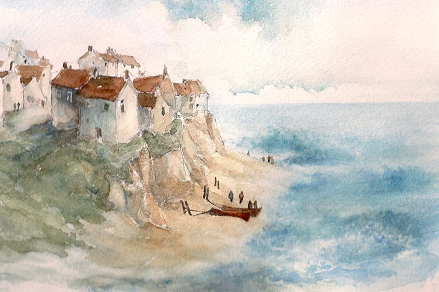 Beach scene, with cottages, boats and seashore.... fictional location
