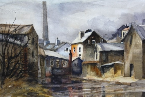 Watercolour painting of an industrial Yorkshire townscape with canal, mills, factories chimney stacks at Todmorden, West Yorkshire, by Vyvyan Green