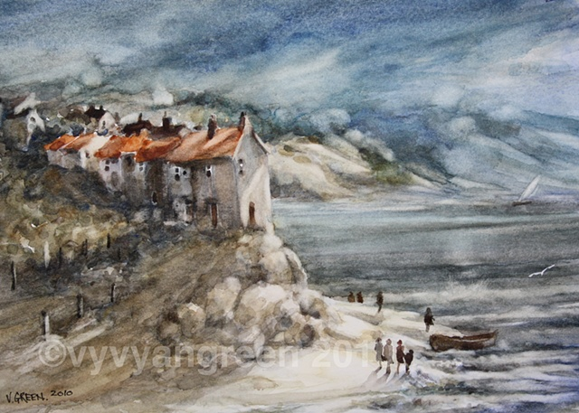 Watercolour painting of Beach scene, with cottages, sea, sand, waves, rocks, cliffs, painted by Vyvyan Green....