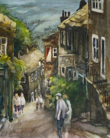 Watercolour painting Howarth Yorkshire, street scene with cottages and hill, by Vyvyan Green