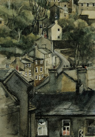 Watercolour painting by Vyvyan Green of South Lane, Holmfirth, West Yorkshire: