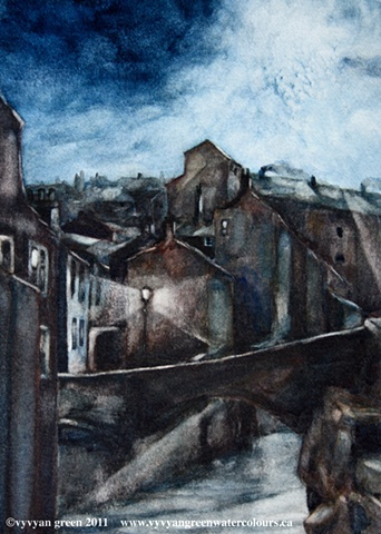 Watercolour painting of victorian industrial townscape with cottages and mills - Keighley, West Yorkshire, by moonlight, by artist Vyvyan Green