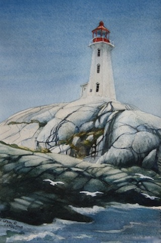 Art Card from a Watercolour by Vyvyan Green of the Lighthouse at Peggys Cove, Nova Scotia