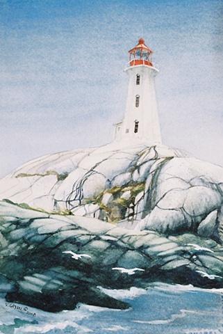 Lighthouse at Peggys Cove, Nova Scotia, Watercolour