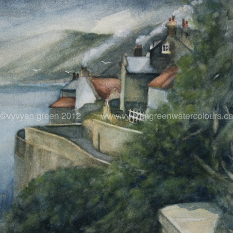 Watercolour painting by Vyvyan Green of cottages and Sea Wall, Robin Hood's Bay, North Yorkshire.