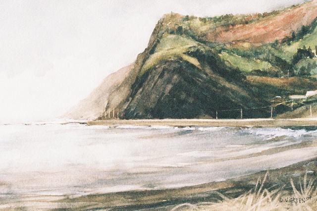 Gros-Morne, Québec, coastline, sea, Watercolour