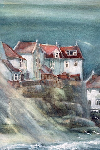 Watercolour painting of cottages, waves, moonlight in Staithes Harbour, North Yorkshire  by Vyvyan Green