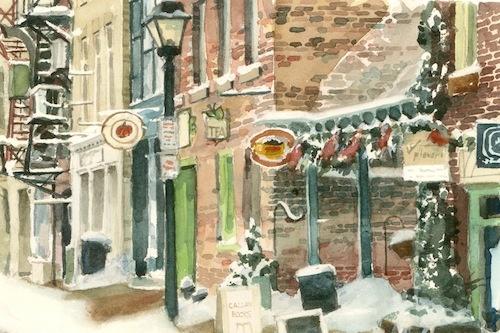 Art Card of a Watercolour by Vyvyan Green, street scene of York Street, Stratford, Ontario