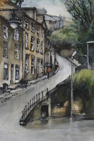 Art Card of a Watercolour by Vyvyan Green a street scene of cottages on South Lane, Holmfirth, West Yorkshire.