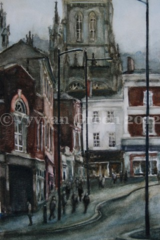 Watercolour painting of The Springs, Wakefield, West Yorkshire, by Vyvyan Green