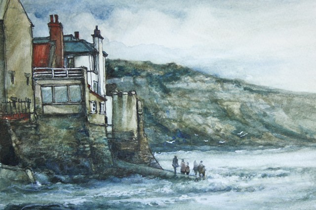Watercolour painting of cottages and sea at Robin Hood's Bay, North Yorkshire  by Vyvyan Green
