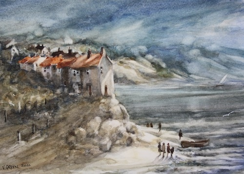 Art Card of a Watercolour by Vyvyan Green of cottages beside the sea.