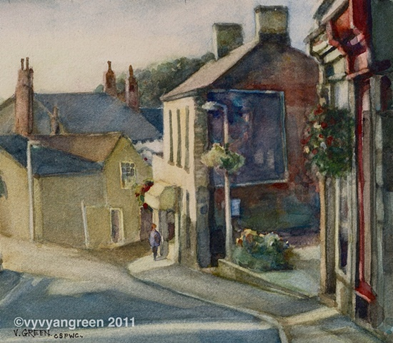 Watercolour Painting of street scene of Queen Street, Horbury, West Yorkshire, with houses and shops,by Vyvyan Green