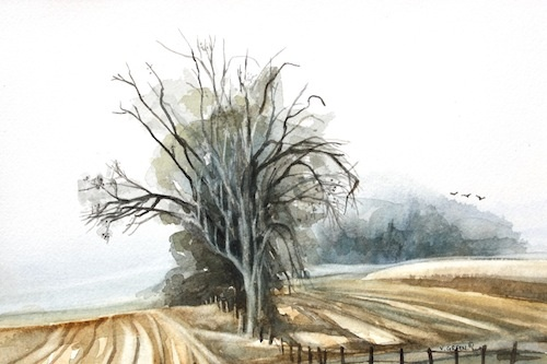 Art Card from a Watercolour by Vyvyan Green of trees in a cornfield.
