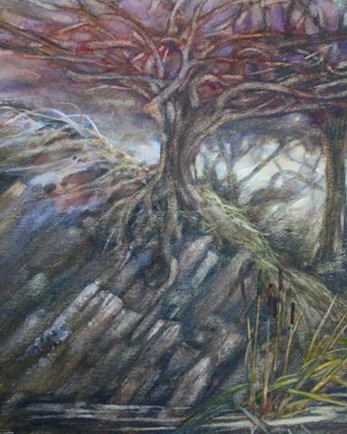 Tree in Wales, Watercolour