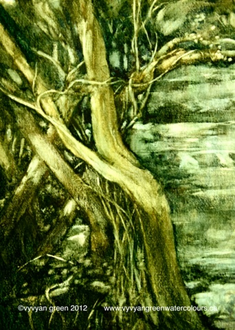 Watercolour painting of trees in Coxley Woods, Horbury, Yorkshire.