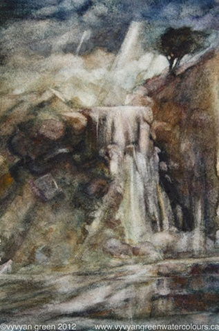 WAtercolour painting of a waterfall