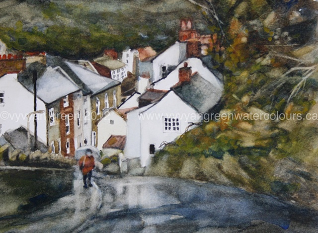 watercolour painting by Vyvyan Green of cottages and steep hill in Staithes, North Yorkshire.