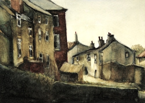 Art Card of a Watercolour by Vyvyan Green of cottages beside Staithes Beck, evening.