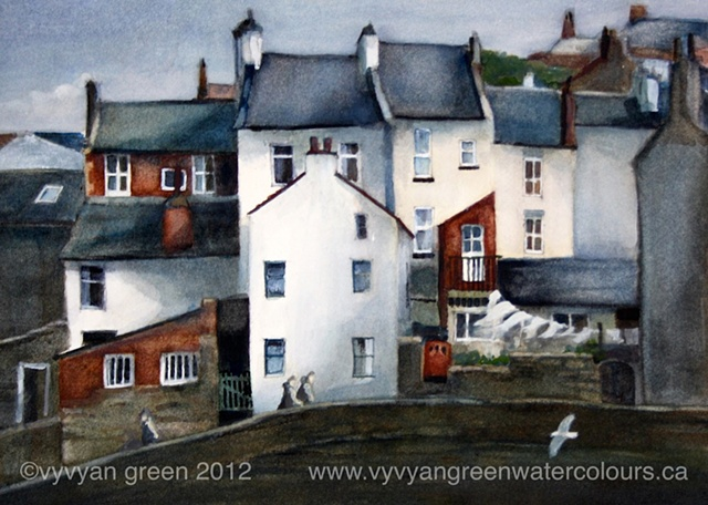 watercolour painting of cottages in Staithes, North Yorkshire.