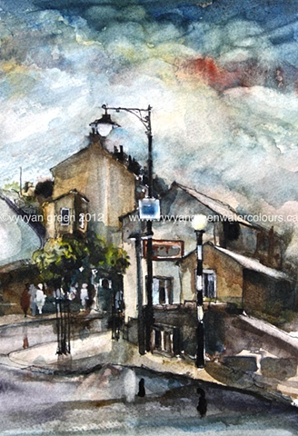 Watercolour painting of a street view of Holmfirth, West Yorkshire