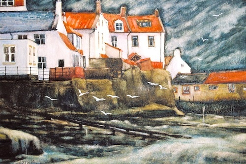 Art Card of a Watercolour by Vyvyan Green of cottages beside Staithes Harbour, North Yorkshire.