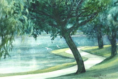 Art Card from a Watercolour by Vyvyan Green of trees beside the Lake in Stratford, Ontario.