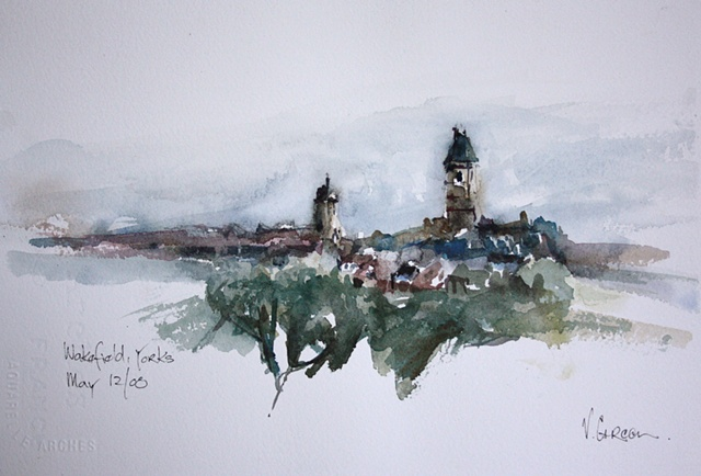 Watercolour painting of Wakefield Skyline from Thornes Park -  by Vyvyan Green